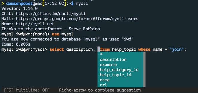 Capture d'écran de mycli dans un terminal