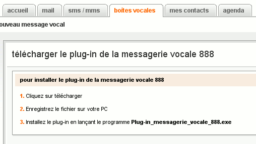 plug in messagerie vocale 888 exe